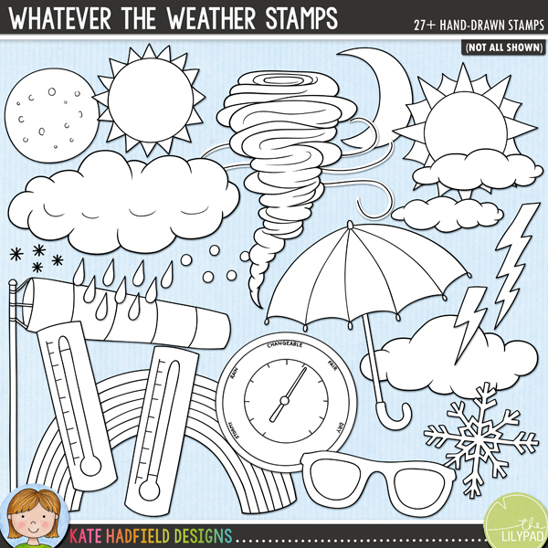 Outline versions of my Whatever The Weather doodles, this stamp pack contains the same doodles in three different formats: black outline png, black outline filled with white png (as shown in the preview) and a new bolder outline version for working on a smaller scale. Digital stamps are perfect for creating colouring sheets, cards and other hybrid projects as well as for stamping on your digital scrapbooking pages!Contains the following hand-drawn doodles: barometer (versions with and without text included), 3 large clouds, small wispy clouds, hail, 2 lightning bolts, fog weather symbol, icicles, 2 moons, 3 sets of raindrops, rainbow, snowflake, 2 small snowflake icons, 3 suns, sunglasses, 2 thermometers, tornado, umbrella, 2 wind swirls and windsock. FOR PERSONAL & EDUCATIONAL USE (please see my Terms of Use for more information)
