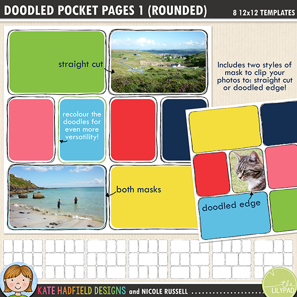 Add a touch of hand drawn whimsy to your pocket page layouts with these new templates! Contains 8 12x12 page templates in TIFF and PSD versions (offered as two zip files, just download your preferred format!) 	 	Each template has two different rounded corner mask options for your photos or papers and offers many ways of customising your page:	 	• clipping your photo to the straight edge mask creates a border between the photo and the doodle frame	• the doodled edge mask allows you to clip your photos or papers right up to the inside doodled line giving a quirky, hand drawn feel!	• both masks can be used together to create a frame for your straight cut photos within the doodled outline, clip your favourite papers to the mask to highlight the photo	• turn both masks off and fill the doodled outline with journaling instead!	• recolour the doodled outlines to further customise your page	 	Rotate the template or flip it to create even more different layout options!	Supplied in two download options: PSD files (which also include a small jpeg preview of each template for easy reference) and TIFF files.	 	Also available with straight corners!	 	FOR PERSONAL / LIMITED S4H USE (please see my Terms of Use for more information)
