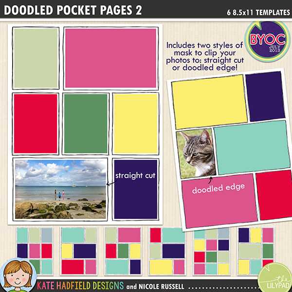 Add a touch of hand drawn whimsy to your pocket page layouts with these new templates! Contains 6 8.5x11 page templates in TIFF and PSD versions (offered as two zip files, just download your preferred format!)Each template has two different straight corner mask options for your photos or papers and offers many ways of customising your page:• clipping your photo to the straight edge mask creates a border between the photo and the doodle frame• the doodled edge mask allows you to clip your photos or papers right up to the inside doodled line giving a quirky, hand drawn feel!• both masks can be used together to create a frame for your straight cut photos within the doodled outline, clip your favourite papers to the mask to highlight the photo• turn both masks off and fill the doodled outline with journaling instead!• recolour the doodled outlines to further customise your pageRotate the template or flip it to create even more different layout options!Supplied in two download options: PSD files (which also includes a small jpeg preview of each template for easy reference) and TIFF files.Also available with rounded corners!FOR PERSONAL / LIMITED S4H USE (please see my Terms of Use for more information)