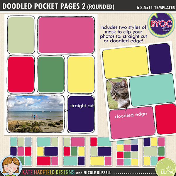 Add a touch of hand drawn whimsy to your pocket page layouts with these new templates! Contains 6 8.5x11 page templates in TIFF and PSD versions (offered as two zip files, just download your preferred format!) 	 	Each template has two different rounded corner mask options for your photos or papers and offers many ways of customising your page:	 	• clipping your photo to the straight edge mask creates a border between the photo and the doodle frame	• the doodled edge mask allows you to clip your photos or papers right up to the inside doodled line giving a quirky, hand drawn feel!	• both masks can be used together to create a frame for your straight cut photos within the doodled outline, clip your favourite papers to the mask to highlight the photo	• turn both masks off and fill the doodled outline with journaling instead!	• recolour the doodled outlines to further customise your page	 	Rotate the template or flip it to create even more different layout options! Supplied in two download options: PSD files (which also include a small jpeg preview of each template for easy reference) and TIFF files.	 	Also available with straight corners!	FOR PERSONAL / LIMITED S4H USE (please see my Terms of Use for more information)
