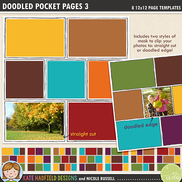 Add a touch of hand drawn whimsy to your pocket page layouts with these new templates! Contains 8 12x12 page templates in TIFF and PSD versions (offered as two zip files, just download your preferred format!)Each template has two different straight corner mask options for your photos or papers and offers many ways of customising your page:• clipping your photo to the straight edge mask creates a border between the photo and the doodle frame• the doodled edge mask allows you to clip your photos or papers right up to the inside doodled line giving a quirky, hand drawn feel!• both masks can be used together to create a frame for your straight cut photos within the doodled outline, clip your favourite papers to the mask to highlight the photo• turn both masks off and fill the doodled outline with journaling instead!• recolour the doodled outlines to further customise your pageRotate the template or flip it to create even more different layout options!Supplied in two download options: PSD files (which also includes a small jpeg preview of each template for easy reference) and TIFF files.Also available with rounded corners!FOR PERSONAL / LIMITED S4H USE (please see my Terms of Use for more information)