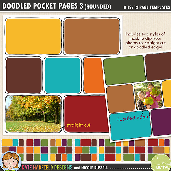 Add a touch of hand drawn whimsy to your pocket page layouts with these new templates! Contains 8 12x12 page templates in TIFF and PSD versions (offered as two zip files, just download your preferred format!)Each template has two different rounded corner mask options for your photos or papers and offers many ways of customising your page:• clipping your photo to the straight edge mask creates a border between the photo and the doodle frame• the doodled edge mask allows you to clip your photos or papers right up to the inside doodled line giving a quirky, hand drawn feel!• both masks can be used together to create a frame for your straight cut photos within the doodled outline, clip your favourite papers to the mask to highlight the photo• turn both masks off and fill the doodled outline with journaling instead!• recolour the doodled outlines to further customise your pageRotate the template or flip it to create even more different layout options!Supplied in two download options: PSD files (which also include a small jpeg preview of each template for easy reference) and TIFF files.Also available with straight corners!FOR PERSONAL / LIMITED S4H USE (please see my Terms of Use for more information)