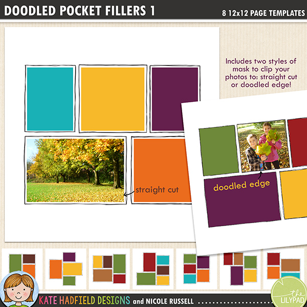 Add a touch of hand drawn whimsy to your pocket page layouts with these new templates! Contains 8 12x12 page templates in TIFF and PSD versions (offered as two zip files, just download your preferred format!) These templates are perfect for those weeks where you only have a handful of photos, for those weeks where you have so many photos you need an extra page and for creating everyday layouts in a pocket page style.Each template has two different straight corner mask options for your photos or papers and offers many ways of customising your page:• clipping your photo to the straight edge mask creates a border between the photo and the doodle frame• the doodled edge mask allows you to clip your photos or papers right up to the inside doodled line giving a quirky, hand drawn feel!• both masks can be used together to create a frame for your straight cut photos within the doodled outline, clip your favourite papers to the mask to highlight the photo• turn both masks off and fill the doodled outline with journaling instead!• recolour the doodled outlines to further customise your pageRotate the template or flip it to create even more different layout options!Supplied in two download options: PSD files (which also includes a small jpeg preview of each template for easy reference) and TIFF files.Also available with rounded corners!FOR PERSONAL / LIMITED S4H USE (please see my Terms of Use for more information)