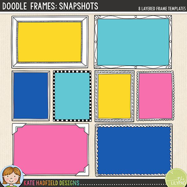 Add a touch of whimsy to your layouts with these doodled frames! Contains 8 layered frame templates in TIFF and PNG format, 4 6x4 frames and 4 3x4 frames. Each frame template comprises of the following layers:			doodled outline - easy to recolour!			frame mask - clip your favourite papers to this mask to create the frame, add colour or texture to make it your own!			photo mask - cut to sit tight to the doodle outline to allow you to use just the doodle as your frame if you so desire!FOR PERSONAL / LIMITED S4H USE (please see my Terms of Use for more information)