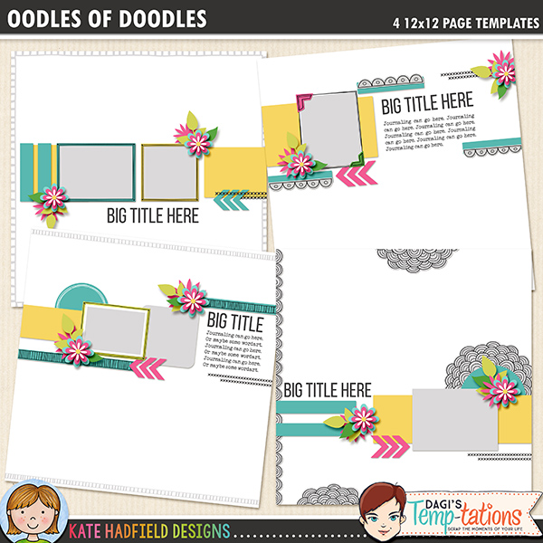 Add a touch of hand drawn whimsy to your layouts with these new doodled templates! Contains four 12x12 page templates in TIFF, PNG, PSD and PAGE versions (offered as individual zip files, just download your preferred format!)FOR PERSONAL USE ONLY (please see myTerms of Usefor more information)