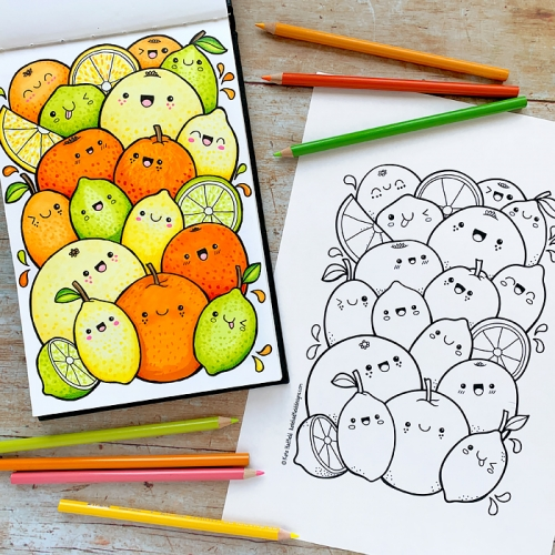 Kawaii Citrus Fruit colouring page