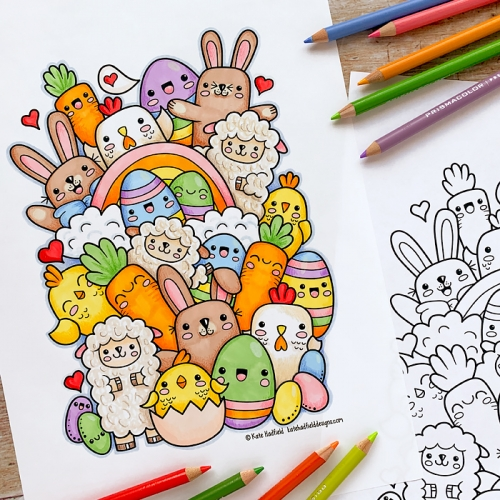 Kawaii Easter colouring page