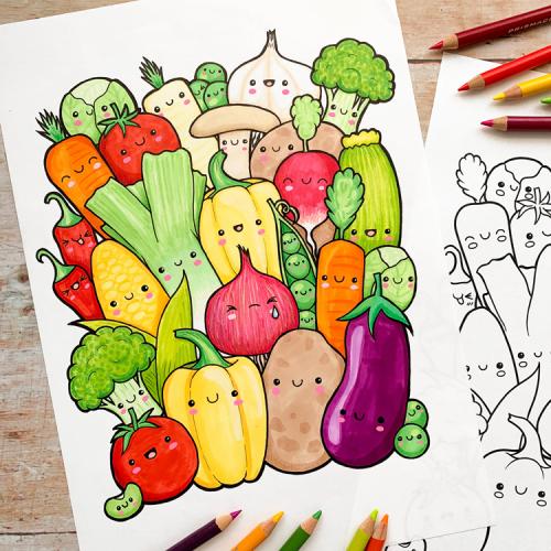 Kawaii Veggies colouring page