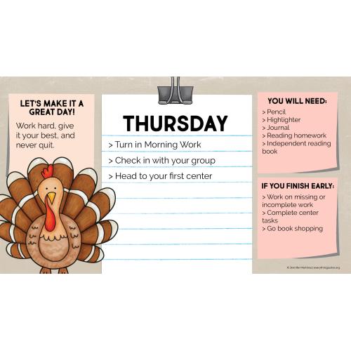 Daily Agenda Slides - November