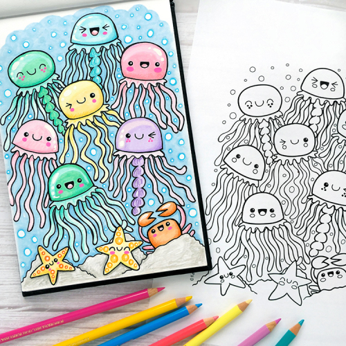 Kawaii Jellyfish colouring page