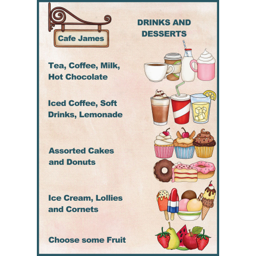 Drinks and Desserts Menu