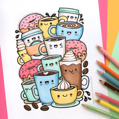Kawaii Coffee colouring page