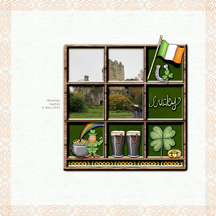 We had a wonderful time in Ireland!Credits:Made with Kate Hadfield's April Blog Challenge Shadow Box Free Template,Springtime Overlays, Big Top Papers and Luck of the Irish doodles.Font is Courier New.. [photo mine from Blarney Castle]