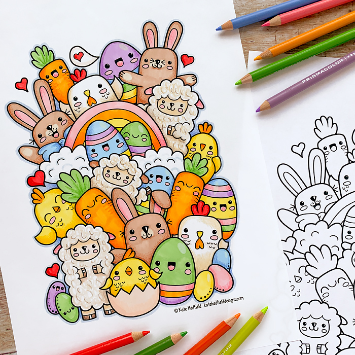 A fun little colouring page based on one of my sketchbook drawings! If you fancy colouring your own version, you can download the colouring page here:https://katehadfielddesigns.com/blog/kawaii-easter-free-colouring-page/