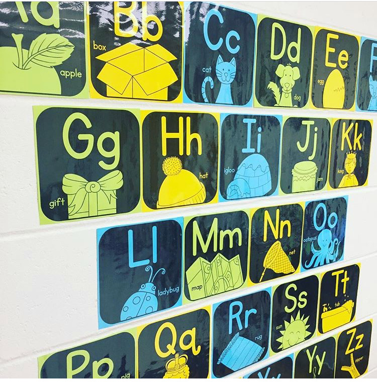 A fun black and white wall alphabet that can be printed on any color to match your classroom decor!