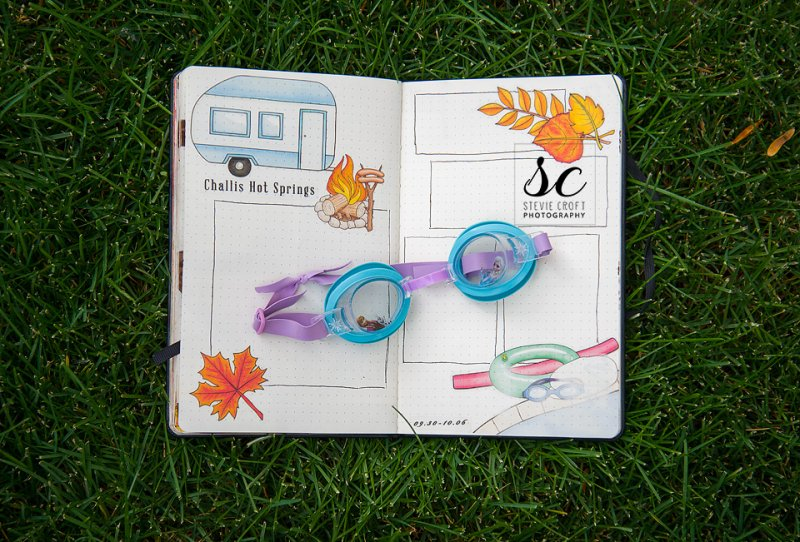 It was time for our annual hot springs camp out, so of course it was the theme of my bujo. I'm getting behind here, I'm going to have to get them all uploaded soon!A to Z : Objects by Kate Hadfield (trailer/caravan)Summer Camp by Kate Hadfield (camp fire)Fantabulous Fall by Kate Hadfield (leaves)Swim Like a Fish by Kate Hadfield (swimming corner)