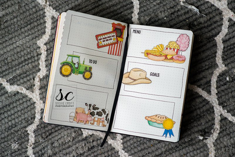 It's time for the state fair! My husband loves the tractor pull, I love the exhibits (especially photography), my son loves the animals, my daughter loves the food, and my oldest son can't decide what his favorite was! I decided to honor all of our interests in this bujo!Ticket Stand and ticket: By the Seaside and Big Top by Kate HadfieldTractor: On the Farm by Kate HadfieldAnimals and Fence: On the Farm and Fantabulous Fall by Kate HadfieldFood: Al Fresco (hot dog and hamburger), By the Seaside (chips/fries), Star Spangled (corn), Big Top (cotton candy and popcorn), and Coffee and Cupcakes (donut) all by Kate HadfieldHat: Bigger on the InsidePie: Star Spangled and Graduation (ribbon)