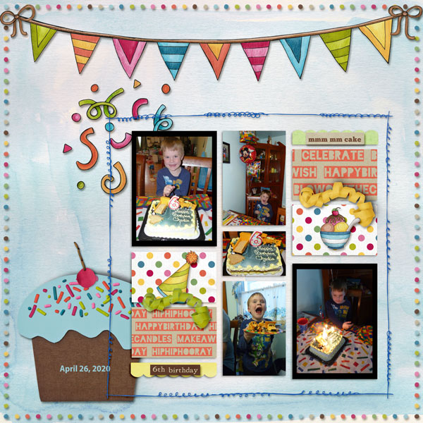 Kit:  Bring on the cake Papers:  Sketchbook pagesAlso includes pieces from the original Bring on the Cake Collab by Kate Hadfield and Kim JensenMay 2020 Blog Template Freebie