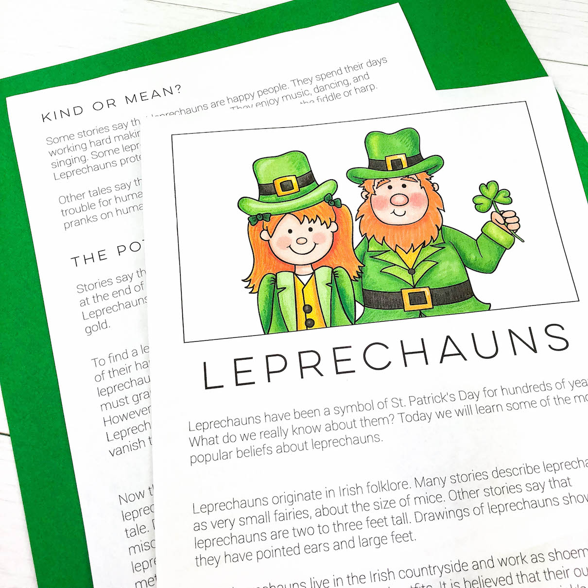 Learn about the history of Leprechauns and create your own story.
