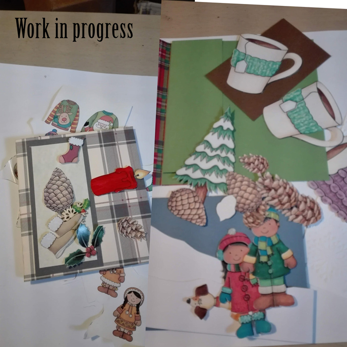 Christmas card making . In the sweltering heat I might add....