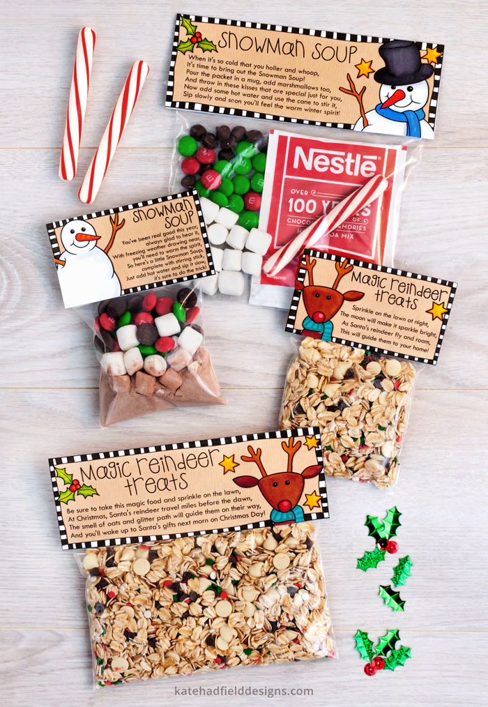 graphic about Snowman Soup Free Printable Bag Toppers identify Do it yourself Xmas address bag toppers: Magic Reindeer Snacks and