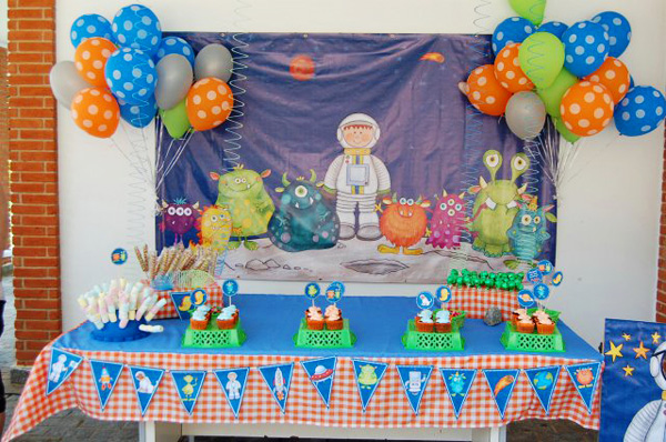 Monsterific Birthday Party - using digital scrapbooking kits to create party displays!