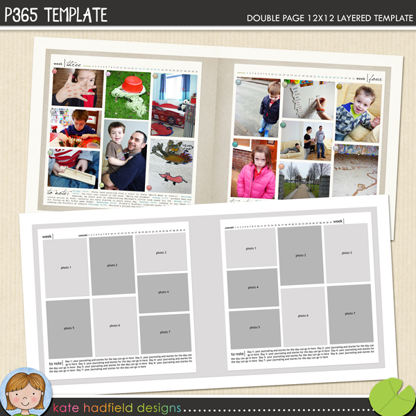 Project 365 FREE digital scrapbooking template from Kate Hadfield Designs