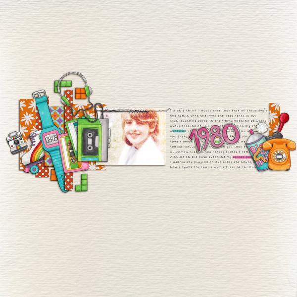 Child of the 80's | Digital scrapbook layout by Kate Hadfield Designs creative team member Karen