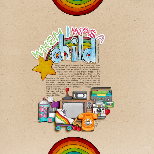 Child of the 80's | Digital scrapbook layout by Kate Hadfield Designs creative team member Rachel