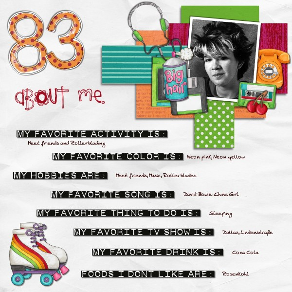 Child of the 80's | Digital scrapbook layout by Kate Hadfield Designs creative team member Tami