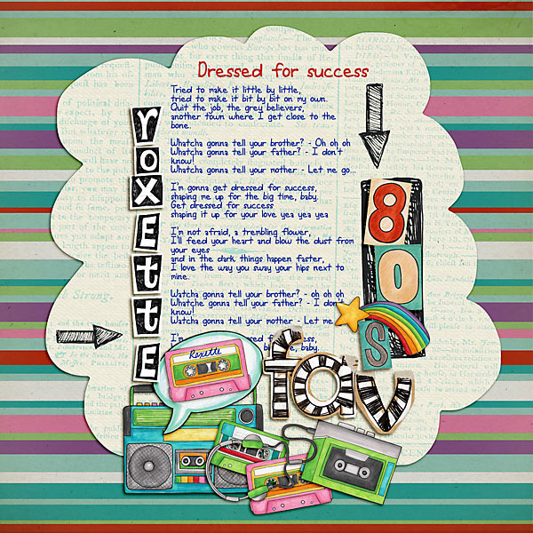 Child of the 80's | Digital scrapbook layout by Kate Hadfield Designs creative team member Vale
