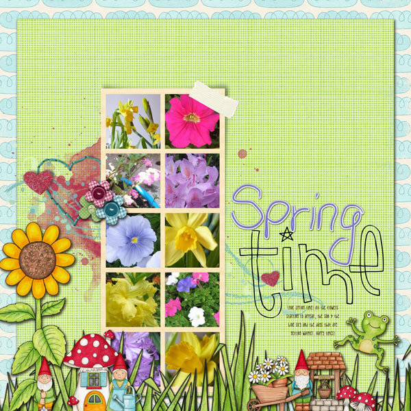 """Spring time"" Spring scrapbook layout ideas 