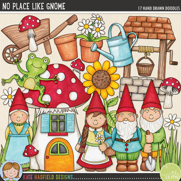 Garden Gnome digital scrapbooking elements / cute clip art. Hand-drawn illustrations for diital scrapbooking, crafting and teaching resources from Kate Hadfield Designs!