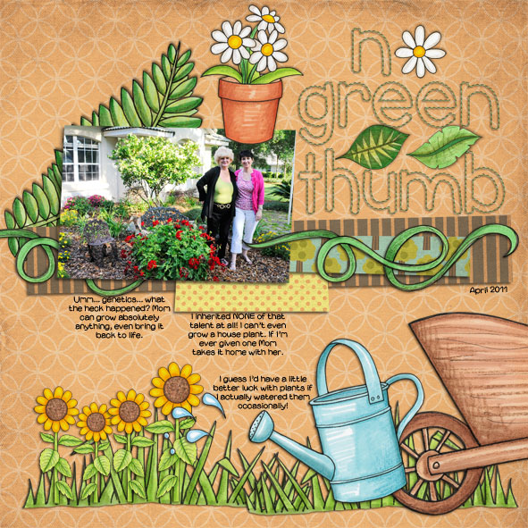 """No Green Thumb"" Spring scrapbook layout ideas 
