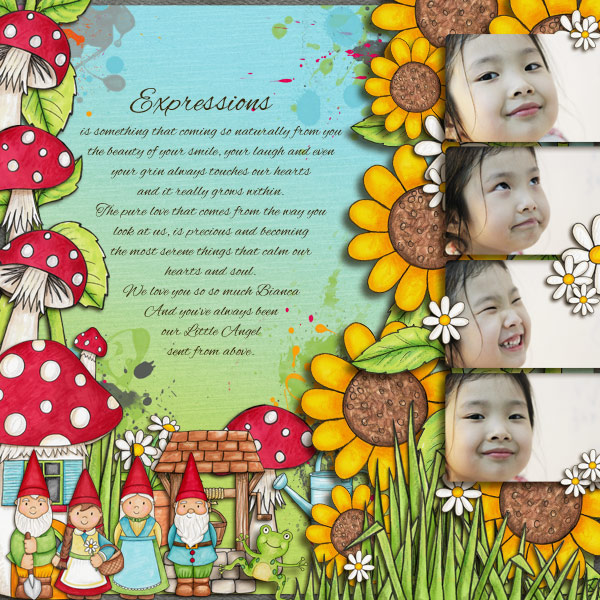 """Expressions"" Spring scrapbook layout ideas 