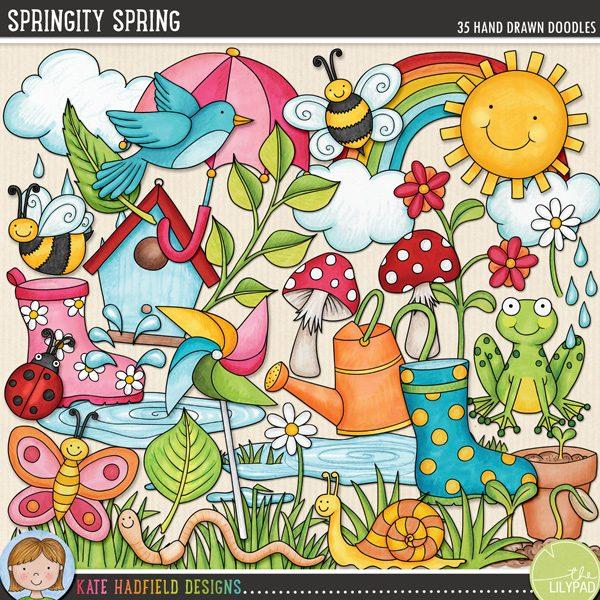 Springity Spring digital scrapbooking elements from Kate Hadfield Designs