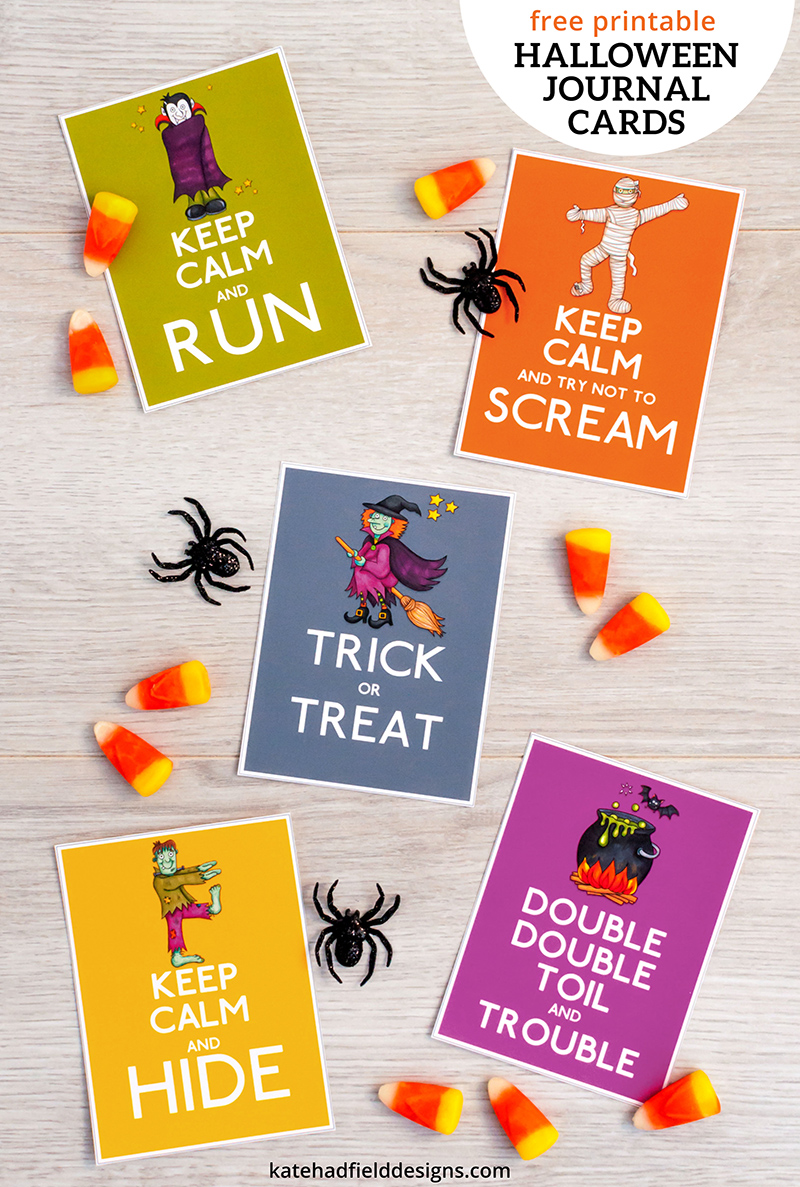 Keep Calm Halloween journal cards freebie! These fun filler cards are perfect for your pocket scrapbook pages, or print them and use them as gift tags for Halloween gifts and favors, or even as spooky lunch box notes!