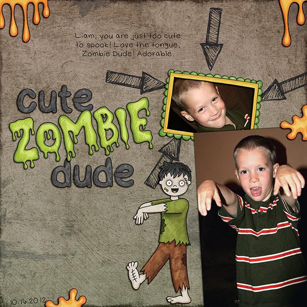 Halloween scrapbooking ideas! Halloween digital scrapbook layout by Kate Hadfield Designs creative team member Jenna