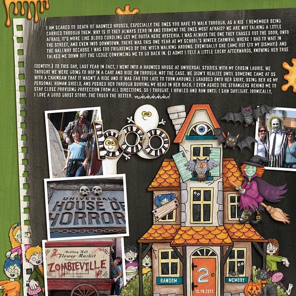 Halloween scrapbooking ideas! Halloween digital scrapbook layout by Kate Hadfield Designs creative team member Nicole