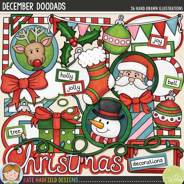 December Doodads digital scrapbooking kit | clip art