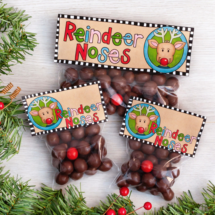 I Dusted Off My Scissors And Whipped Up Some New Printable Christmas Bag Toppers This Week These Reindeer Noses Were Inspired By Love Of Maltesers