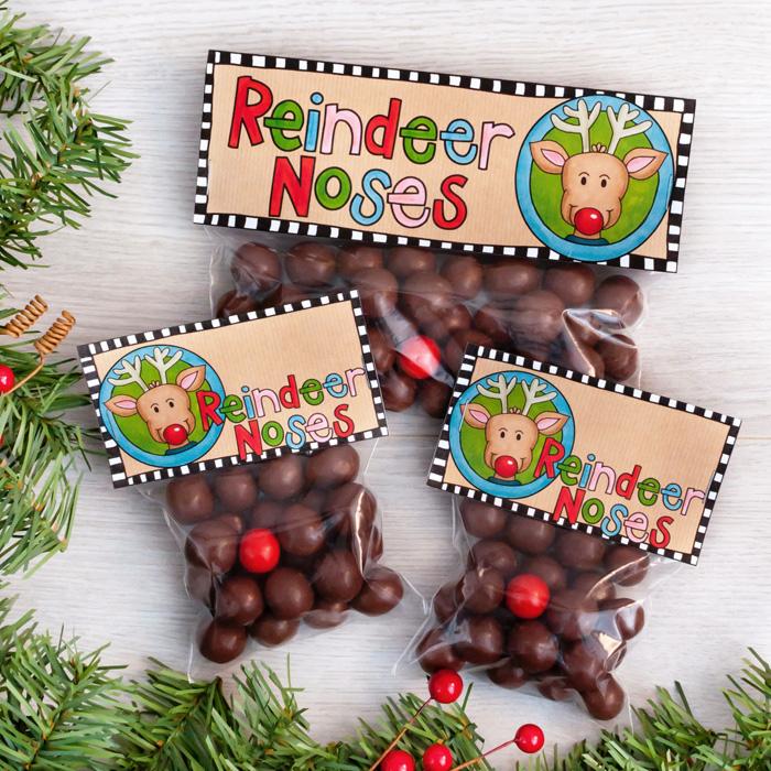 photo regarding Reindeer Noses Printable named Reindeer Noses printable Xmas bag toppers - Kate