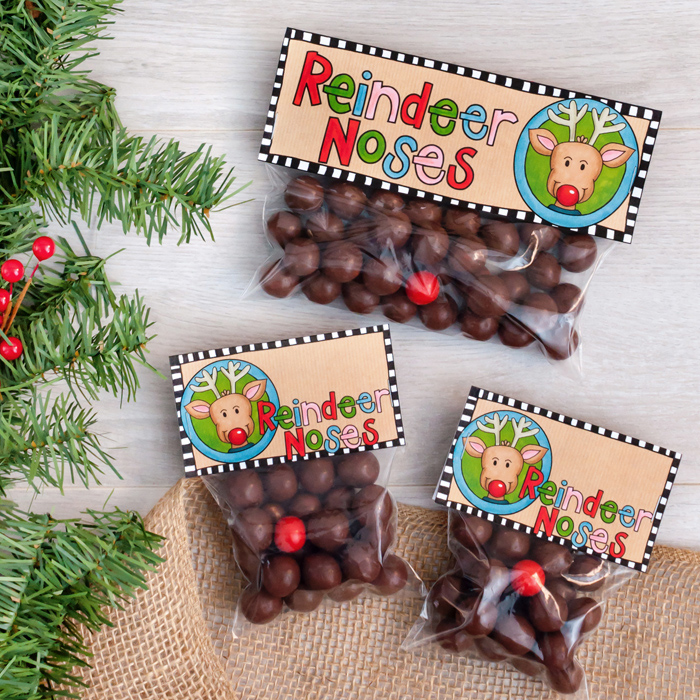 photograph relating to Reindeer Noses Printable referred to as Reindeer Noses printable Xmas bag toppers - Kate