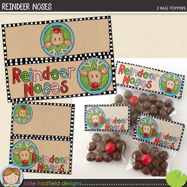 Reindeer Noses FREE printable bag toppers! Perfect for making stocking stuffers and Christmas treats!