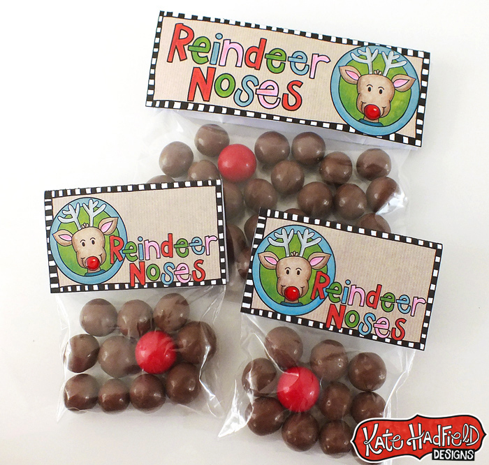 FREE Reindeer Noses Christmas bag toppers!