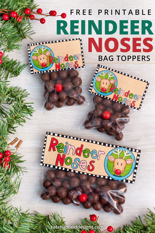 picture about Reindeer Noses Printable known as Reindeer Noses printable Xmas bag toppers - Kate