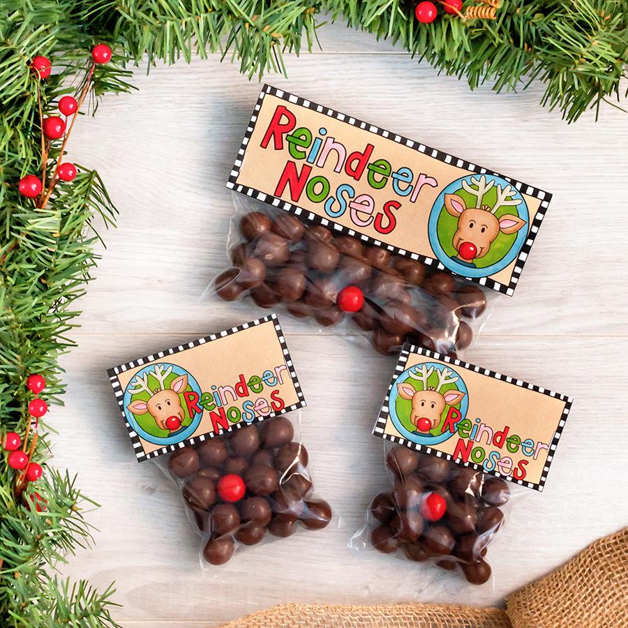 reindeer noses christmas treat bags