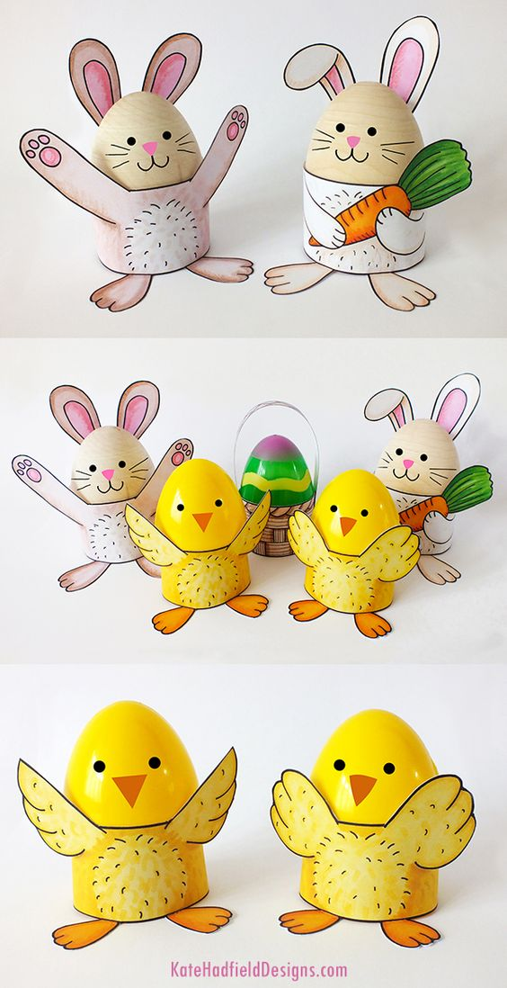 Easy printable Easter egg wrap craft for kids - make cute stand for decorated Easter eggs! Just print, colour and assemble!