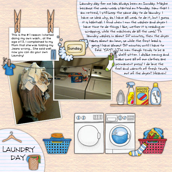 Wash Day digital scrapbooking page | scrapbook layout ideas | Kate Hadfield Designs creative team layout by Christa