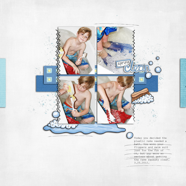 Spring clean digital scrapbooking page | scrapbook layout ideas | Kate Hadfield Designs creative team layout by Keela